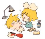 1boy 1girl :i bangs blonde_hair blue_dress bow collared_shirt commentary crayon crying crying_with_eyes_open dress fork gloves hair_bow hair_ornament hairclip kagamine_len kagamine_rin ketchup kitsune_no_ko kneeling knife lamp lying mask mouth_mask napkin o_o on_back playing_doctor scared screwdriver shirt shirt_removed short_hair short_ponytail solid_circle_eyes sparkle spiky_hair spill surgeon surgery surgical_mask swept_bangs tears tissue_box translated trembling vocaloid white_bow white_shirt wrench x |_|