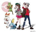 1boy 1girl artist_name bangs beanie boots brown_eyes brown_footwear brown_hair cardigan commentary_request denim dress gen_8_pokemon green_headwear green_legwear grey_cardigan grookey hat highres holding holding_poke_ball jeans long_sleeves looking_at_viewer masaru_(pokemon) official_style open_mouth pants pink_dress poke_ball poke_ball_(generic) poke_ball_symbol pokemon pokemon_(creature) pokemon_(game) pokemon_swsh red_shirt scorbunny shirt short_hair sleeves_rolled_up smile sobble socks standing starter_pokemon starter_pokemon_trio suitcase tam_o'_shanter teeth teru_zeta tongue watermark yuuri_(pokemon)
