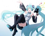 absurdly_long_hair absurdres aqua_eyes aqua_hair aqua_nails aqua_neckwear bare_shoulders black_legwear black_skirt black_sleeves boots commentary detached_sleeves full_body grey_shirt hair_ornament hand_up hatsune_miku headphones headset highres holding_megaphone kano_(wi3028) long_hair looking_at_viewer megaphone miniskirt nail_polish necktie open_mouth outstretched_arm panties pantyshot pleated_skirt shirt shoulder_tattoo skirt sleeveless sleeveless_shirt smile striped striped_panties supercell tattoo thigh-highs thigh_boots twintails underwear very_long_hair vocaloid