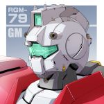 character_name close-up earth_federation gm_(mobile_suit) gradient gradient_background grey_background gundam mao_(6r) mecha mobile_suit_gundam no_humans robot solo visor
