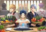 6+boys alternate_hairstyle aqua_eyes aqua_hair asparagus basket bell_pepper black_gloves black_hair blonde_hair blue_eyes blue_hair blurry blurry_background carrot corn cucumber cutting_board eggplant fish gloves horikawa_kunihiro izumi-no-kami_kanesada jacket kasen_kanesada male_focus multiple_boys official_art pepper ponytail purple_hair shokudaikiri_mitsutada silver_hair sleeves_rolled_up smile taikogane_sadamune toichi_(ik07) tomato touken_ranbu track_jacket yamabushi_kunihiro yamanbagiri_chougi yamanbagiri_kunihiro yellow_eyes