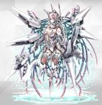 1girl axe highres holding holding_axe holding_spear holding_weapon looking_down mecha_musume original pink_eyes pink_hair polearm solo spear umamimiotoko weapon