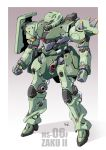 character_name clenched_hand gradient gradient_background gundam highres mao_(6r) mecha mobile_suit_gundam no_humans one-eyed redesign solo standing zaku_ii zeon