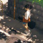 bag blue_shorts bysau day guitar_case highres instrument_case original ponytail shirt shorts sidewalk walking white_footwear white_shirt