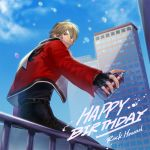 1boy belt black_pants black_shirt blonde_hair building character_name fatal_fury fingerless_gloves gloves happy_birthday jacket mark_of_the_wolves pants railing red_eyes red_jacket rock_howard shirt snk solo spray_can spray_paint star_(symbol) star_print yaka_(kk1177)