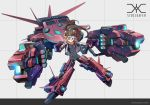 1girl blue_eyes bodysuit brown_hair commentary_request dual_wielding energy_gun gun headgear highres holding jacket mecha mecha_musume original ponytail science_fiction simple_background skin_tight solo thrusters user_zykz2352 weapon