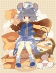 1girl :< animal_ear_fluff animal_ears animal_print black_footwear blush bobby_socks bow capelet cheese cup dress food full_body grey_dress grey_hair highres jewelry long_sleeves looking_at_viewer mouse_ears mouse_print mouse_tail nazrin nikorashi-ka object_on_head pendant polka_dot polka_dot_bow red_eyes saucer shirt short_hair sitting sitting_on_food skewer socks solo tail tail_bow teacup touhou white_legwear white_shirt wrapped_candy yellow_bow