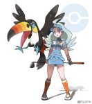 1girl :o absurdres ahoge artist_name blue_headwear breasts collared_shirt commentary_request elite_four gen_7_pokemon golf_club grey_eyes highres holding_golf_club kahili_(pokemon) light_blue_hair long_hair mole mole_under_eye official_style open_mouth orange_legwear poke_ball_symbol pokemon pokemon_(creature) pokemon_(game) pokemon_sm shirt short_sleeves simple_background skirt socks standing striped striped_shirt teru_zeta tongue toucannon visor_cap watermark