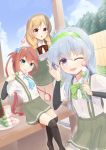 3girls aqua_neckwear arm_warmers asagumo_(kantai_collection) bangs bike_shorts black_legwear blush bow bowtie braid brown_eyes brown_hair clip_studio_paint_(medium) dango eating eyebrows_visible_through_hair food green_eyes green_neckwear grey_hair hair_ribbon hairband highres kantai_collection kneeling light_brown_hair long_hair metadio minegumo_(kantai_collection) multiple_girls one_eye_closed open_mouth outdoors red_neckwear ribbon sanshoku_dango school_uniform single_braid sitting skirt sky suspender_skirt suspenders twin_braids violet_eyes wagashi yamagumo_(kantai_collection)