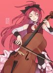 absurdres black_legwear boots closed_eyes detached_sleeves double_bass enosst highres instrument knee_boots long_hair magical_girl mahou_shoujo_madoka_magica music parted_lips playing_instrument ponytail red_background red_footwear redhead sakura_kyouko sitting smile solo soul_gem thigh-highs zettai_ryouiki