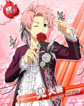 character_name idolmaster idolmaster_side-m jacket kabuto_daigo pink_hair red_eyes roses short_hair smile wink