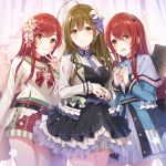 3girls ahoge alstroemeria_(idolmaster) alternate_hairstyle angel_wings bangs black_dress black_wings blue_dress blush brown_eyes brown_hair capelet choker closed_mouth dress earrings eyebrows_visible_through_hair feathered_wings flower frilled_dress frills green_sailor_collar hair_between_eyes hair_flower hair_ornament hair_ribbon idolmaster idolmaster_shiny_colors jewelry kuwayama_chiyuki long_hair long_sleeves maid_headdress multiple_girls nail_polish necktie oosaki_amana oosaki_tenka redhead ribbon sailor_collar shorts siblings sisters smile standing swept_bangs twins v white_wings wings yuuhi_(ages)