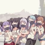 5girls ^_^ animal_ears aqua_hair ayasaka bang_dream! bangs belt black_hair black_pants brown_hair closed_eyes clothes_writing commentary_request denim denim_shorts disneyland fake_animal_ears grey_hair group_picture half_updo hand_on_another's_shoulder hikawa_sayo imai_lisa long_hair mask mickey_mouse_ears minato_yukina mouse_ears mouth_mask multiple_girls pants plaid plaid_skirt purple_hair red_skirt roselia_(bang_dream!) shirokane_rinko shirt short_shorts short_sleeves shorts sidelocks skirt t-shirt twintails udagawa_ako unmoving_pattern |_|