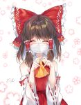 1girl bangs bare_shoulders blush bow brown_hair closed_eyes cowboy_shot detached_sleeves eyebrows_visible_through_hair facing_viewer floral_background frilled_bow frills hair_between_eyes hair_bow hair_tubes hakurei_reimu heart heart_hands highres large_bow long_hair long_sleeves mask mouth_mask red_bow ribbon-trimmed_sleeves ribbon_trim sidelocks solo symbol_commentary touhou upper_body urim_(paintur) white_background wide_sleeves yellow_neckwear