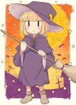 1girl bat blonde_hair blush_stickers border broom brown_footwear child commentary_request cross full_body full_moon graveyard halloween halloween_costume hat holding holding_broom looking_at_viewer meis_(terameisu) moon no_socks outside_border purple_headwear shoes short_hair smile solo standing star_(symbol) starry_background uchi_emiri watashi_ga_motenai_no_wa_dou_kangaetemo_omaera_ga_warui! white_border witch_costume witch_hat younger