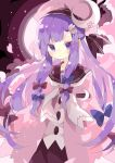 1girl adapted_costume blue_bow bow capelet cherry_blossom_print cherry_blossoms crescent crescent_hair_ornament dress floral_print hair_bow hair_ornament hairclip highres long_hair nikorashi-ka patchouli_knowledge pink_headwear purple_hair red_background red_bow red_dress sailor_collar shirt solo touhou upper_body violet_eyes white_neckwear white_shirt
