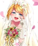 1girl absurdres aqua_eyes backlighting blonde_hair blurry blurry_foreground bouquet bridal_veil bride collarbone crying depth_of_field dress elbow_gloves flat_chest flower flower_wreath gloves hair_flower hair_ornament half-closed_eyes happy_tears head_wreath highres inu8neko jewelry kagamine_rin lipstick looking_at_viewer makeup open_mouth petals pink_flower pink_rose ribbon rose smile solo streaming_tears sunflower tears veil vocaloid wedding_dress white_dress wiping_tears yellow_ribbon