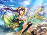 cape dress long_hair lui_meifan ponytail purple_hair shoujo_kageki_revue_starlight smile violet_eyes