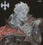 1boy black_background blue_skin can cape earrings energy_drink facial_hair fang frischenq gilzaren_iii gloves holding holding_can jewelry male_focus nijisanji open_mouth photoshop_(medium) pointy_ears red_cape red_eyes signature simple_background slit_pupils smile solo upper_body vampire white_gloves white_hair