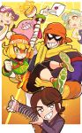 :p alternate_costume aori_(splatoon) arms_(game) bandana bangs beanie blonde_hair border bowl brown_hair captain_falcon carrying chopsticks closed_eyes crossover envelope eyebrows_visible_through_hair f-zero food gashi-gashi gloves green_eyes grin hat highres holding hotaru_(splatoon) kirby kirby_(series) knit_hat letter mask min_min_(arms) mole mole_under_eye multiple_boys multiple_girls noodles open_mouth orange_headwear princess_carry ramen real_life sakurai_masahiro slinky smile sparkle splatoon_(series) super_smash_bros. tentacle_hair tongue tongue_out white_border white_gloves