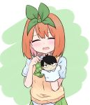 1girl :d ^_^ bangs blush bow closed_eyes collared_shirt commentary_request eyebrows_behind_hair facing_viewer go-toubun_no_hanayome green_background green_bow green_ribbon green_skirt hair_ribbon hand_puppet hands_up highres kujou_karasuma nakano_yotsuba open_mouth orange_hair pleated_skirt pointing puppet ribbon shirt short_sleeves skirt smile solo sweater_vest two-tone_background uesugi_fuutarou upper_body white_background white_shirt