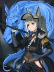 1girl absurdres animal_ears arknights english_commentary grani_(arknights) grey_hair grin highres hip_vent holding holding_weapon horse horse_ears horse_girl horse_tail mekolee police police_uniform policewoman shoulder_guard smile solo tail thigh_cutout uniform violet_eyes weapon