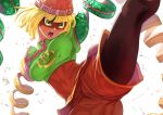 1girl arms_(game) beanie blonde_hair eyebrows_visible_through_mask fighting_stance green_eyes hat highres kicking leggings legwear_under_shorts mask min_min_(arms) open_mouth pantyhose short_hair shorts simple_background solo super_smash_bros. uenoryoma