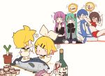 >_< 2boys 5girls ? alcohol aqua_eyes aqua_hair baby bangs black_collar black_neckwear black_shirt black_skirt black_sleeves blonde_hair blue_scarf blush bottle bow brown_hair chibi closed_eyes coat collar collared_shirt commentary crop_top detached_sleeves elbowing fish food grey_shirt grin hair_bow hair_ornament hairclip hands_together hatsune_miku highres ice_cream ice_cream_cup kagamine_len kagamine_rin kaito kitsune_no_ko long_hair looking_at_another looking_back megurine_luka meiko midriff miniskirt multiple_boys multiple_girls necktie pants pink_eyes pink_hair plant pleated_skirt potted_plant red_shirt red_skirt sailor_collar sake sake_bottle scarf seiza shirt short_hair sitting skirt sleeveless sleeveless_shirt sleeves_past_fingers sleeves_past_wrists smile spiky_hair spoken_question_mark spring_onion swept_bangs takoluka translated tuna twintails twitter_username very_long_hair vocaloid white_background white_bow white_coat white_pants white_shirt younger