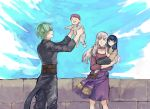 2boys 2girls blue_eyes blue_hair blue_sky byleth_(fire_emblem) byleth_(fire_emblem)_(male) carrying closed_mouth commission day dress father_and_daughter father_and_son fire_emblem fire_emblem:_three_houses from_side green_hair highres if_they_mated long_hair long_sleeves lysithea_von_ordelia mother_and_daughter mother_and_son multiple_boys multiple_girls open_mouth outdoors parted_lips pink_eyes short_hair short_sleeves sky smile white_hair yourfreakyneighbourh