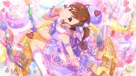 blush brown_hair dress futami_mami idolmaster_million_live!_theater_days long_hair smile violet_eyes
