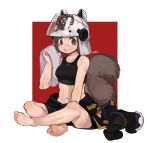 1girl absurdres animal_ears_helmet arknights barefoot boridongja brown_eyes brown_hair fire_helmet fire_jacket firefighter footwear_removed highres indian_style jacket jacket_removed midriff shaw_(arknights) short_hair sitting soles solo squirrel_girl squirrel_tail sweat tail tank_top towel
