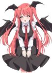 1girl alternate_hairstyle black_skirt black_vest breasts bright_pupils commentary_request demon_wings head_wings highres koakuma leaning_forward long_hair long_sleeves looking_at_viewer medium_breasts necktie red_eyes red_neckwear redhead shirt simple_background skirt skirt_set smile solo touhou tsukimirin two_side_up vest white_background white_shirt wings