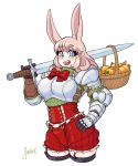 1girl animal_ears armor artist_name basket blue_eyes blush boobplate bow bowtie breastplate breasts bunny_girl carrot cowboy_shot eyebrows_visible_through_hair eyes_visible_through_hair gauntlets highres holding holding_sword holding_weapon large_breasts long_sleeves looking_at_viewer medium_hair open_mouth original pauldrons pink_hair rabbit_ears shardanic short_shorts shorts shoulder_armor simple_background smile solo standing sword teeth thigh-highs tongue watermark weapon white_background