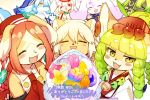 6+girls :3 :d animal_ears animal_nose anniversary asena_(fullbokko_heroes) bare_shoulders beige_fur bell black_fur blue_bow blue_hair blush blush_stickers bow brown_fur brown_hair cat cat_ears cat_girl catoblepas_(fullbokko_heroes) chantico_(fullbokko_heroes) closed_eyes commentary_request cow cow_girl dawon_(fullbokko_heroes) dog dog_ears dog_girl eyebrows_visible_through_hair fangs freikugel_(fullbokko_heroes) fullbokko_heroes furry green_hair hair_between_eyes headwear jingle_bell kishibe kushinada_(fullbokko_heroes) light_brown_hair lion lion_ears lion_girl long_hair looking_at_viewer multiple_girls ooguchi_no_magami_(fullbokko_heroes) open_mouth pawpads pointy_ears red_eyes simple_background smile tail translation_request two-tone_fur white_fur white_hair wolf wolf_ears wolf_girl wolf_tail yellow_eyes yellow_fur