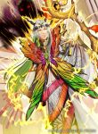 1boy circlet electricity fairy_wings fire_emblem fire_emblem_cipher fire_emblem_heroes freyr_(fire_emblem) green_hair horns kyo_niku long_hair multicolored_hair official_art solo staff two-tone_hair white_hair wings yellow_eyes