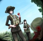 1boy 2girls absurdres ak-47 assault_rifle black_hair blood blood_on_face blurry_foreground bullet_hole commentary corpse day death dog_tags english_commentary grass gun hat helmet highres holding holding_gun holding_weapon load_bearing_equipment long_hair military military_uniform multiple_girls nguyen_tam_lee original outdoors rifle scarf short_hair uniform vietnam_war weapon