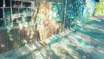 1girl absurdres against_wall dappled_sunlight highres long_shirt medium_hair original outdoors road sandals scenery smoking solo street sunlight yori_(f2_ef7)