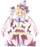 1girl blonde_hair bow cake crystal flandre_scarlet food fork fruit full_body highres holding holding_fork laevatein layered_skirt long_hair long_sleeves looking_at_viewer nikorashi-ka pantyhose red_bow red_eyes red_legwear red_neckwear shirt side_ponytail simple_background skirt solo strawberry strawberry_shortcake symbol_commentary touhou whipped_cream white_background white_footwear white_shirt wide_sleeves wings yellow_skirt