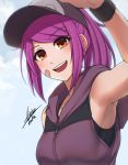 1girl :d absurdres airisubaka armpits artist_name bandaid bandaid_on_face bangs bare_shoulders baseball_cap black_headwear blue_sky blush breasts brown_eyes collarbone commentary day eyebrows_visible_through_hair from_below hat highres hood hood_down hoodie leah_(airisubaka) long_hair looking_at_viewer medium_breasts open_mouth orange_eyes original outdoors pink_hair ponytail purple_hair shirt short_hair signature sky sleeveless sleeveless_hoodie sleeveless_shirt smile solo upper_body upper_teeth wristband