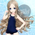 1girl alternate_breast_size artist_name asakaze_(kantai_collection) bangs blue_background blue_eyes blue_swimsuit character_name commentary_request cowboy_shot flat_chest forehead inaba_shiki kantai_collection leaf leaf_background light_brown_hair long_hair looking_at_viewer old_school_swimsuit parted_bangs school_swimsuit sidelocks solo swimsuit wavy_hair