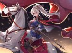 1girl ahoge banner belt black_gloves blonde_hair boots cape cavalry_sword epaulettes eyebrows_visible_through_hair fringe_trim gloves highres horse knight looking_at_viewer military military_uniform original pants ponytail rapier red_eyes riding saddle sheath sheathed solo sword uniform user_jnrr7424 weapon white_horse