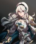 1girl armor black_hairband closed_mouth corrin_(fire_emblem) corrin_(fire_emblem)_(female) fire_emblem fire_emblem_fates hairband long_hair misu_kasumi pointy_ears red_eyes simple_background solo upper_body white_hair