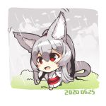1girl :d animal_ear_fluff animal_ears bangs barefoot blush_stickers chibi commentary_request dated eyebrows_visible_through_hair fox_ears fox_girl fox_tail full_body grey_hair hair_between_eyes high_ponytail highres japanese_clothes kimono long_hair long_sleeves looking_away obi open_mouth original patches ponytail rain running sash smile solo tail very_long_hair white_kimono wide_sleeves yuuji_(yukimimi)