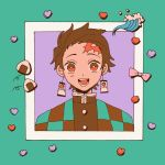 1boy bow brown_hair checkered_obi dddddestroy facial_scar forehead_scar hanafuda highres kamado_tanjirou kimetsu_no_yaiba looking_at_viewer open_mouth pink_bow purple_background red_eyes scar short_hair smile solo upper_body