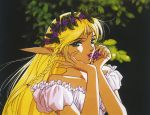 1990s_(style) 1girl aqua_eyes bare_shoulders blonde_hair braid deedlit dress eating food fruit grapes head_wreath holding holding_food holding_fruit long_hair official_art pointy_ears puffy_sleeves record_of_lodoss_war scan short_sleeves single_braid solo upper_body