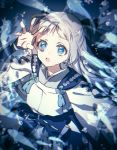 1girl :o air_bubble blue_bow blue_eyes bow bubble fish gen_7_pokemon hand_up looking_at_viewer looking_up moe_(hamhamham) personification pokemon silver_hair solo underwater wishiwashi