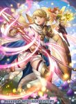 2girls bangs blonde_hair commentary_request company_name copyright_name fairy fairy_wings fire_emblem fire_emblem_cipher fire_emblem_heroes fumi_(butakotai) holding holding_weapon long_hair multiple_girls official_art peony_(fire_emblem) polearm sharena spear weapon wings