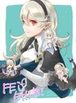 4girls armor aura black_hairband blue_cape cape chibi closed_eyes closed_mouth corrin_(fire_emblem) corrin_(fire_emblem)_(female) dark_aura dated dragon dragon_tail dress fire_emblem fire_emblem_fates fire_emblem_heroes flower hair_flower hair_ornament hairband knees_up long_hair multiple_girls multiple_persona open_mouth pointy_ears red_eyes riding robaco simple_background sitting sitting_on_shoulder smile swimsuit tail white_dress white_hair wyvern