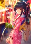 1girl :d arm_up back_bow bangs black_hair blurry blurry_background bow breasts brown_bow brown_eyes cellphone character_request cherry_blossom_print commentary_request depth_of_field eyebrows_visible_through_hair fan floral_print flower hair_flower hair_ornament highres holding holding_hand holding_phone japanese_clothes kimono long_sleeves looking_at_viewer looking_to_the_side medium_breasts night obi open_mouth out_of_frame outdoors paper_fan phone pink_flower pink_kimono print_kimono sash sidelocks smile solo_focus stall summer_festival uchiwa warship_girls_r wide_sleeves xiaoyin_li