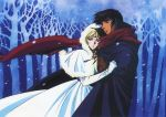 1990s_(style) 1boy 1girl blonde_hair cloak deedlit dress elbow_gloves forest gloves hood hood_up hug nature official_art outdoors parn record_of_lodoss_war red_neckwear scan scarf snowing white_dress